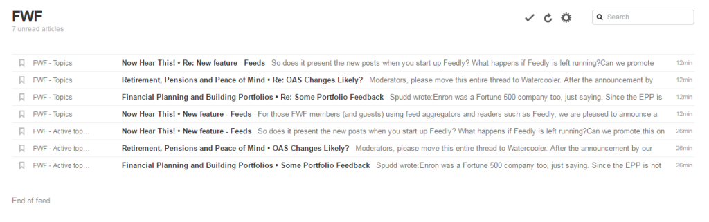 Sample of FWF's feeds as seen in Feedly
